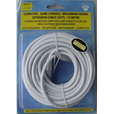 Silver 15 Metre CAT 5 Broadband Extension Lead