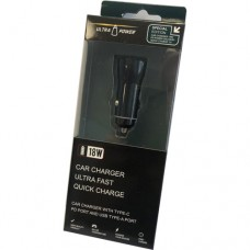 UltraPower 18W Car Charger with Type-C PD Port & USB Type-A Port