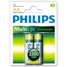 Philips Pack of 2 x AA NiMh R6NM Rechargeable Batteries