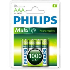 Philips Pack of 4 x AA NiMh HR6N Rechargeable Batteries