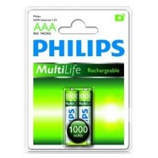 Philips Pack of 2 x AAA NiMh R03 Rechargeable Batteries