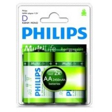 "Philips 2AA ""D"" Multilife 2450 mAh Rechargeable Batteries"