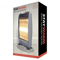 StayWarm 1200w 3 Bar Compact Halogen Heater - Grey