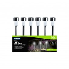 Melbourne 5.5cm White LED Solar Stake Light Stainless Steel Rechargeable Battery Included Colour CDU