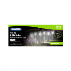 Melbourne 5.5cm White LED Solar Stake Light Stainless Steel Rechargeable Battery Included 6 pack in glossy colour box