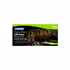 Pambula 7.5cm Dancing Fire Flame , 3 x LED Solar Stake Lights, Black Rechargeable in glossy colour box