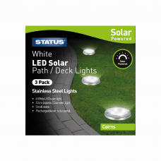 Cairns 12cm White LED Solar Deck Light Stainless Steel Rechargeable Battery Included - 3 Pack Glossy Box