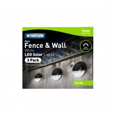 Perth White LED Solar Black Fence Lights - Rechargeable Battery Included - IP44 - 3 Pack Glossy Box