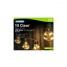 Canberra 10 Clear Warm White LED Solar String Light Bulbs, 3.8 Metres - IP44- 1 Pack Glossy Box