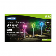 Bunbury 6cm Colour Changing LED Solar Stake Light Crackle Glass Ball Stainless Steel 3 Pack Glossy Box