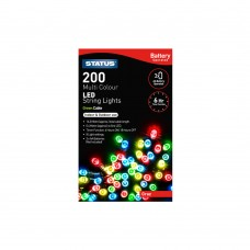 Graz 200 Multi Coloured LED Indoor/Outdoor Battery Operated String Lights