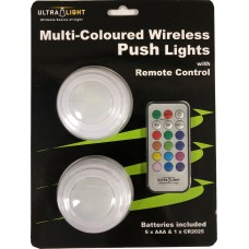 Ultralight Multi-Coloured Wireless Push Lights with Remote Control